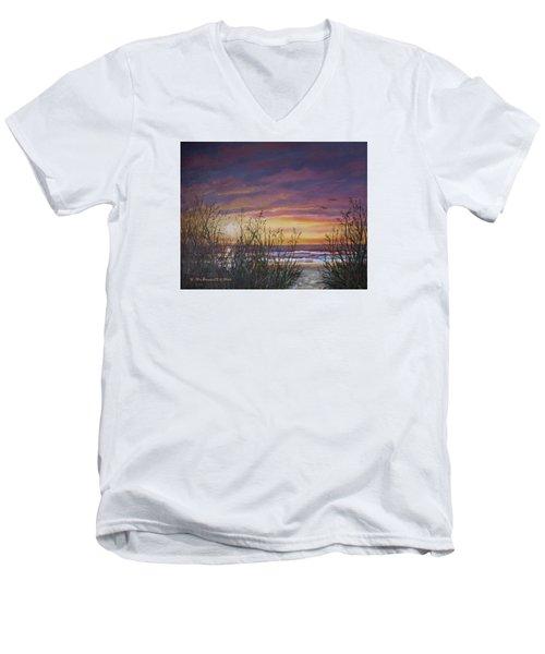 Sea Oat Sunrise # 3 Men's V-Neck T-Shirt by Kathleen McDermott