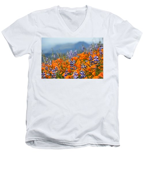 Sea Of California Wildflowers Men's V-Neck T-Shirt by Kyle Hanson