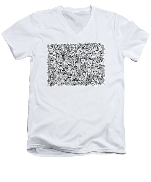 Sea Of Flowers And Seeds At Night Horizontal Men's V-Neck T-Shirt by Tamara Kulish