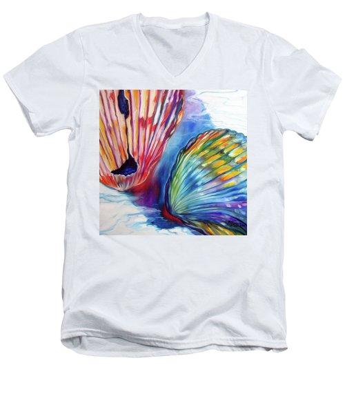 Sea Shell Abstract II Men's V-Neck T-Shirt by Marcia Baldwin