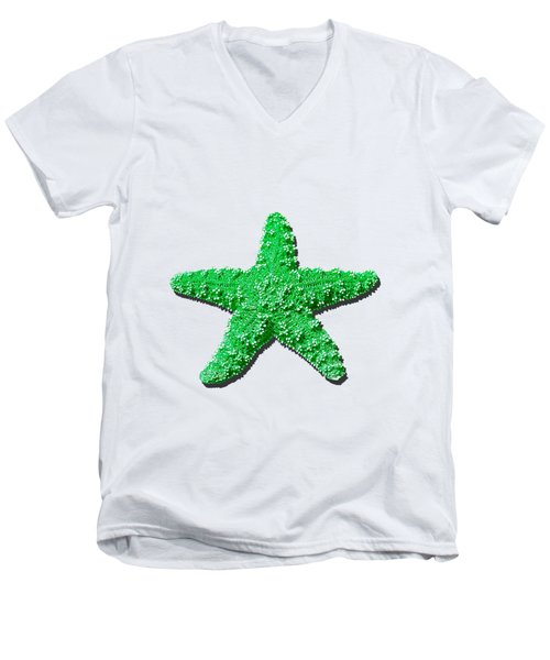 Sea Star Green .png Men's V-Neck T-Shirt