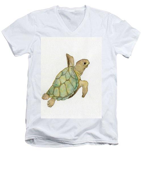 Men's V-Neck T-Shirt featuring the painting Sea Turtle by Annemeet Hasidi- van der Leij