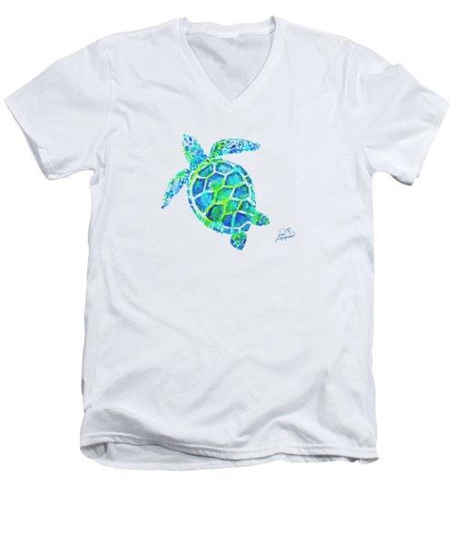 Sea Turtle By Jan Marvin Men's V-Neck T-Shirt