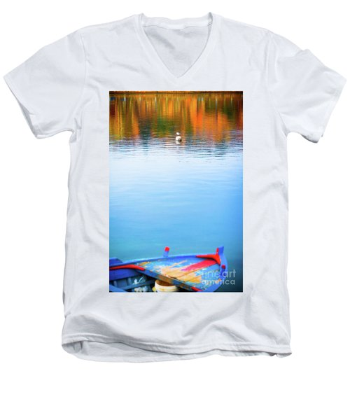 Men's V-Neck T-Shirt featuring the photograph Seagull And Boat by Silvia Ganora