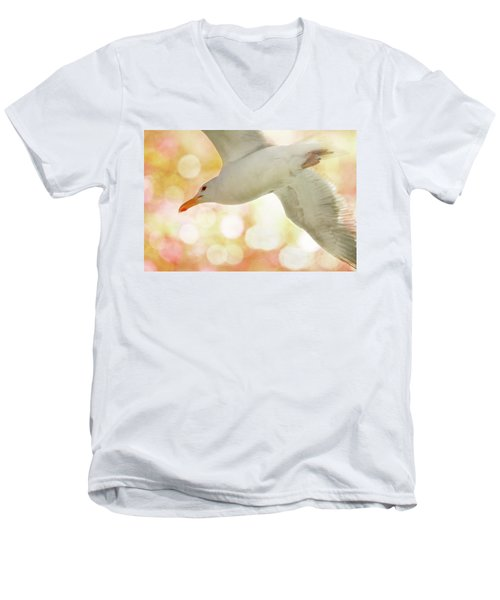 Seagull On Pink And Yellow Sky Men's V-Neck T-Shirt