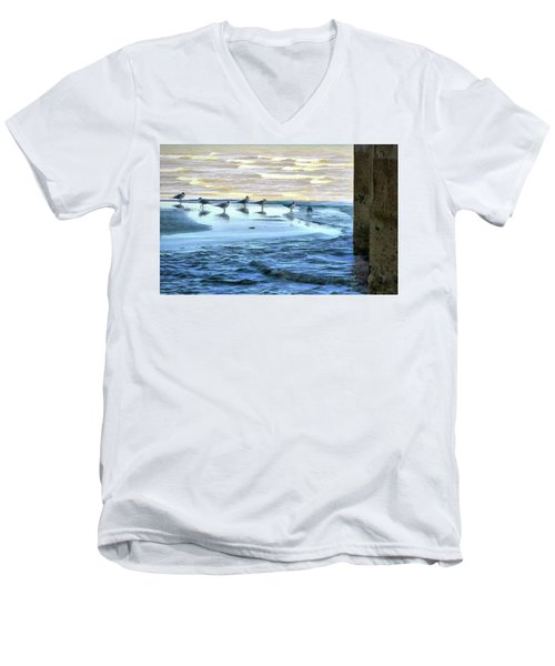 Seagulls At Waters Edge Men's V-Neck T-Shirt by Cedric Hampton
