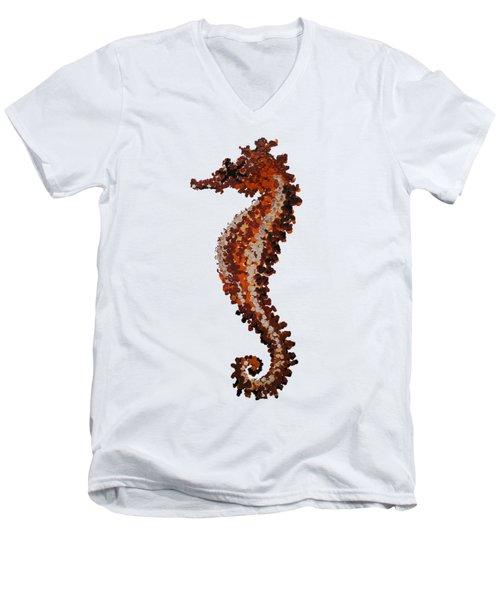 Brown Seahorse Bathroom Decor Art Print Men's V-Neck T-Shirt