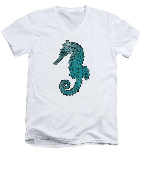 Seahorse Sketch Compilation Men's V-Neck T-Shirt