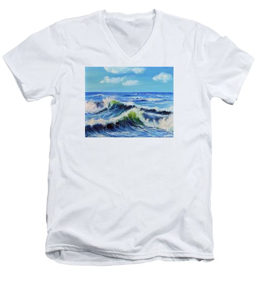 Men's V-Neck T-Shirt featuring the painting Seascape No.3 by Teresa Wegrzyn