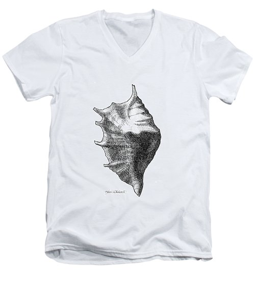 Men's V-Neck T-Shirt featuring the drawing Seashell 1 - Nautical Beach Drawing by Karen Whitworth