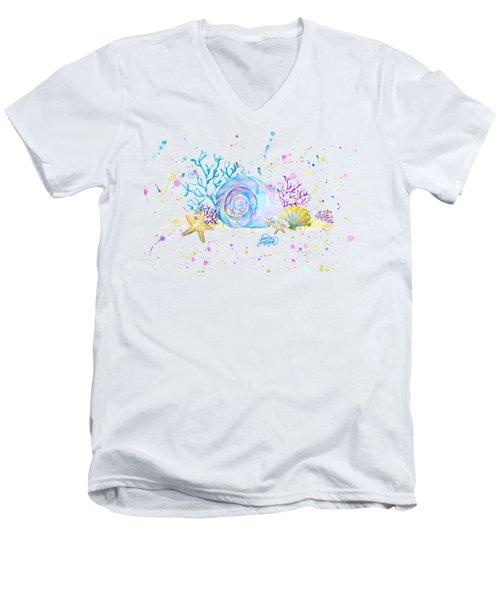 Seashells And Coral Watercolor Men's V-Neck T-Shirt