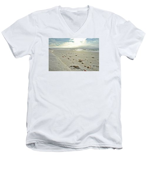 Men's V-Neck T-Shirt featuring the photograph Seashells On The Seashore by Renee Hardison