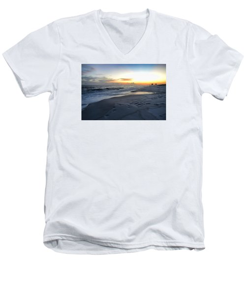 Men's V-Neck T-Shirt featuring the photograph Seaside Sunset by Renee Hardison