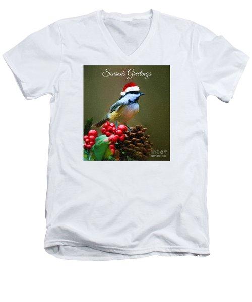 Seasons Greetings Chickadee Men's V-Neck T-Shirt by Tina LeCour