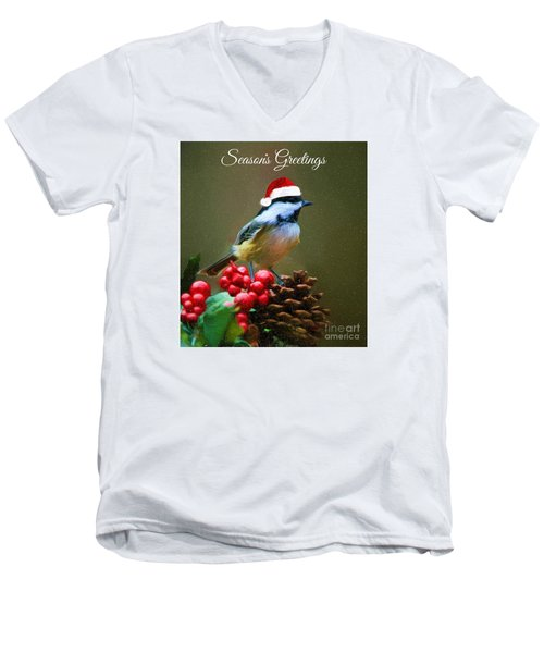 Seasons Greetings Chickadee Men's V-Neck T-Shirt