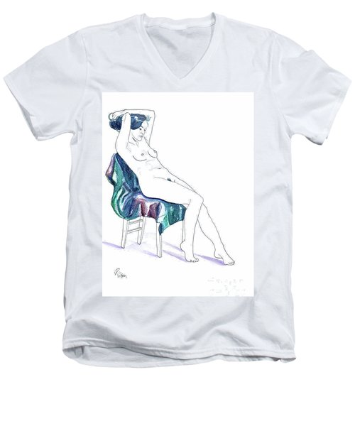 Men's V-Neck T-Shirt featuring the painting Seated Woman by D Renee Wilson
