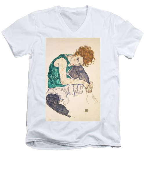 Seated Woman With Legs Drawn Up Men's V-Neck T-Shirt