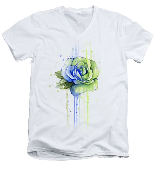 Seattle 12th Man Seahawks Watercolor Rose Men's V-Neck T-Shirt by Olga Shvartsur