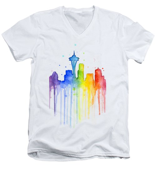 Seattle Rainbow Watercolor Men's V-Neck T-Shirt by Olga Shvartsur