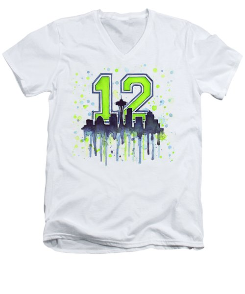 Seattle Seahawks 12th Man Art Men's V-Neck T-Shirt