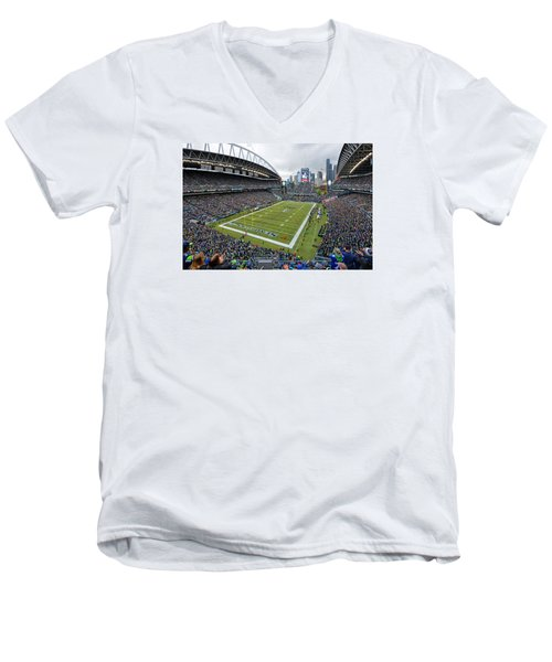 Seattle Seahawks Centurylink Field Men's V-Neck T-Shirt