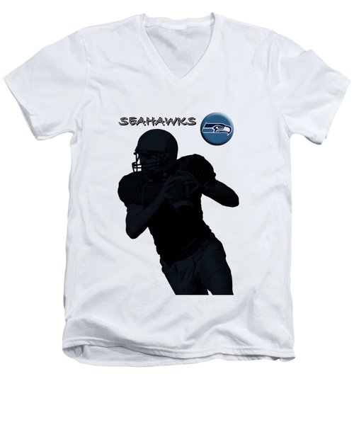Men's V-Neck T-Shirt featuring the digital art Seattle Seahawks Football by David Dehner