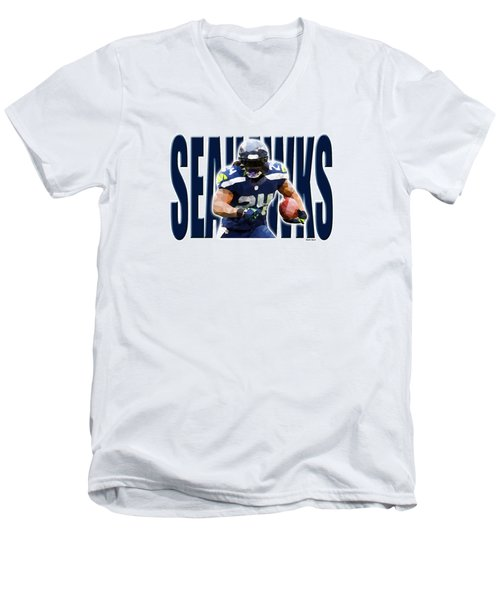 Men's V-Neck T-Shirt featuring the digital art Seattle Seahawks by Stephen Younts