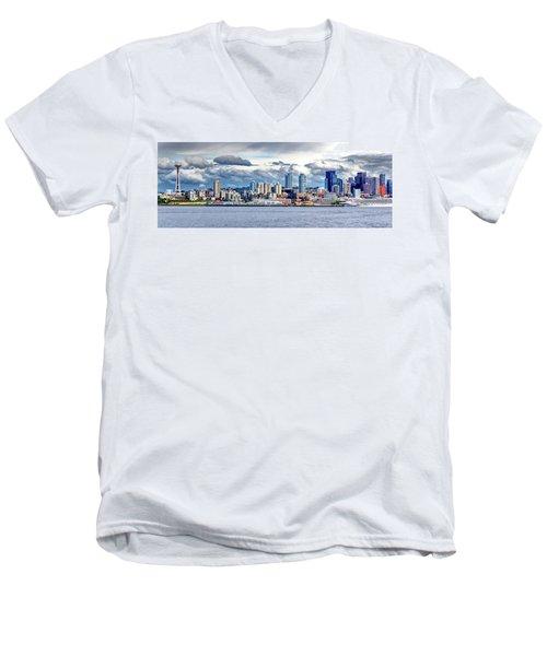 Seattle Skyline Hdr Men's V-Neck T-Shirt