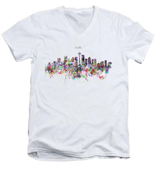 Seattle Skyline Silhouette Men's V-Neck T-Shirt by Marian Voicu