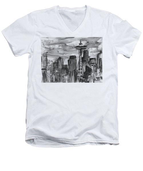 Seattle Skyline Space Needle Men's V-Neck T-Shirt