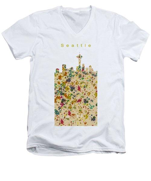 Seattle Skyline.2 Men's V-Neck T-Shirt by Alberto RuiZ