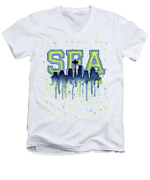 Seattle Watercolor 12th Man Art Painting Space Needle Go Seahawks Men's V-Neck T-Shirt