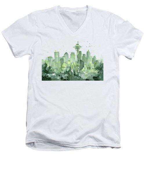 Seattle Watercolor Men's V-Neck T-Shirt