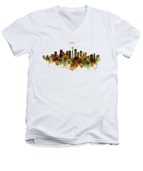 Men's V-Neck T-Shirt featuring the mixed media Seattle Watercolor Skyline Poster by Marian Voicu