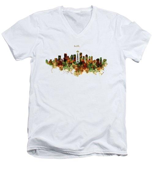 Seattle Watercolor Skyline Poster Men's V-Neck T-Shirt