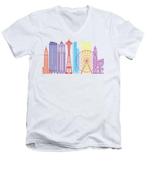 Seattle_v2 Skyline Pop Men's V-Neck T-Shirt by Pablo Romero