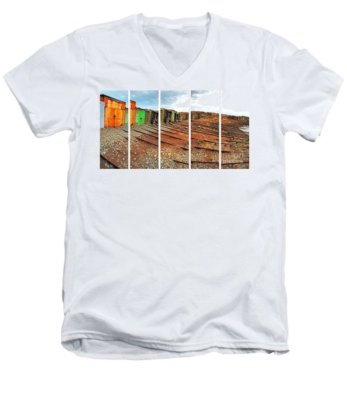 Men's V-Neck T-Shirt featuring the photograph Second Valley Boat Sheds by Stephen Mitchell
