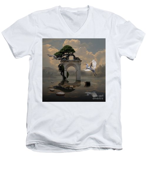 Men's V-Neck T-Shirt featuring the digital art Secret Gate by Alexa Szlavics