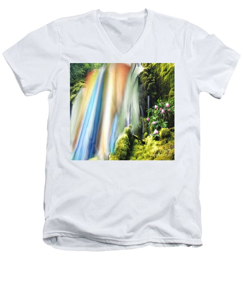 Secret Waterfall Of Life Men's V-Neck T-Shirt by Belinda Threeths