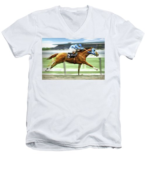 Secretariat On The Back Stretch At The Belmont Stakes Men's V-Neck T-Shirt
