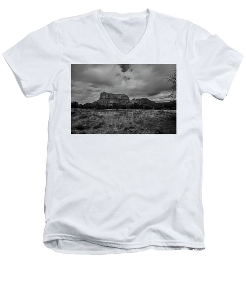 Men's V-Neck T-Shirt featuring the photograph Sedona Red Rock Country Arizona Bnw 0177 by David Haskett