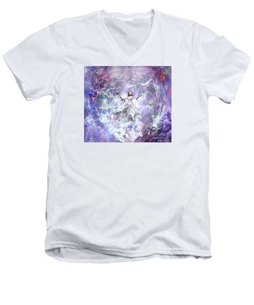 Men's V-Neck T-Shirt featuring the digital art Seek And You Shall Find by Dolores Develde