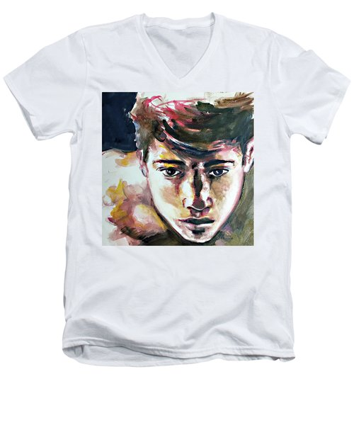 Men's V-Neck T-Shirt featuring the painting Self Portrait 2016 by Rene Capone