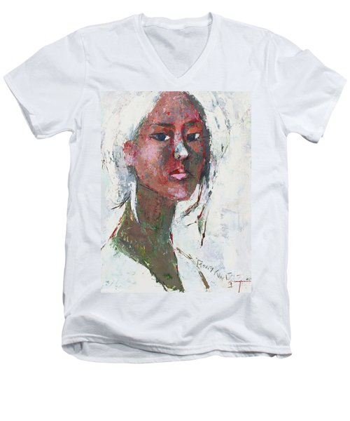 Men's V-Neck T-Shirt featuring the painting Self Portrait 1503 by Becky Kim