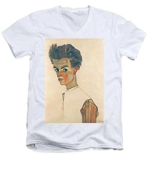 Self-portrait With Striped Shirt Men's V-Neck T-Shirt