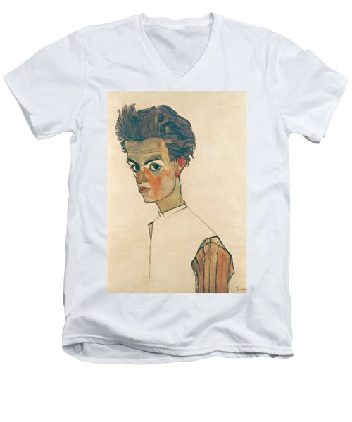 Self-portrait With Striped Shirt Men's V-Neck T-Shirt