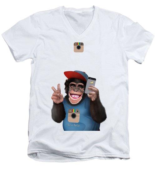 Selfi Chimpanzee Men's V-Neck T-Shirt