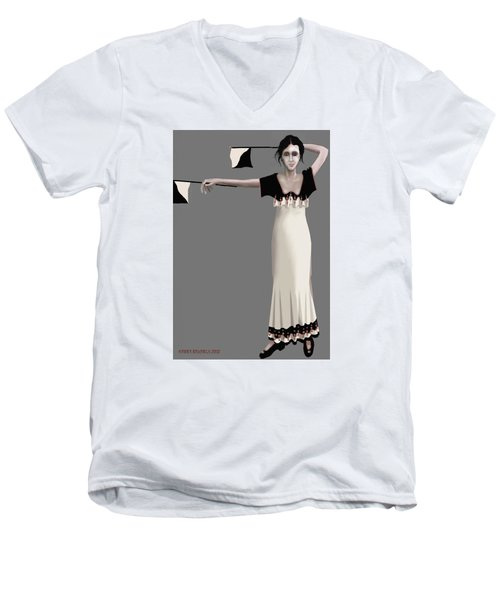 Men's V-Neck T-Shirt featuring the digital art Semaphore Girl by Kerry Beverly