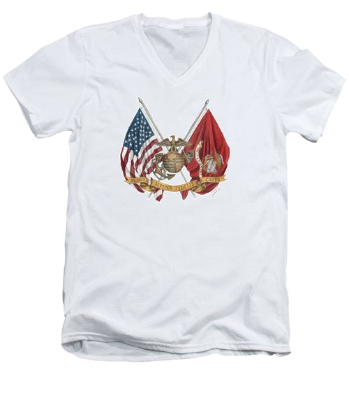 Semper Fidelis Crossed Flags Men's V-Neck T-Shirt