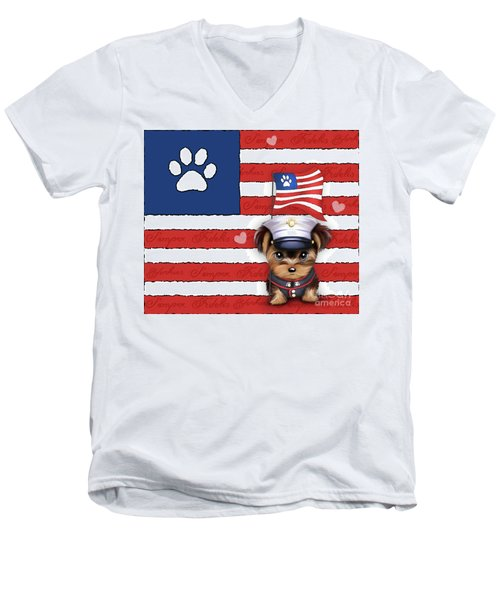 Semper Fidelis Yorkie Marine Men's V-Neck T-Shirt
